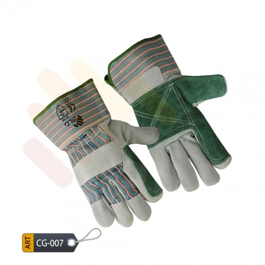 Green Canadian Split double palm gloves by ELC Pakistan (CG-006)