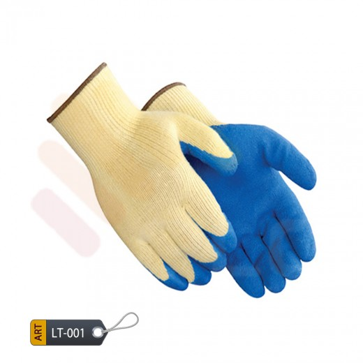 Latex cyan coated glove with blue seamless tone by ELC faisalabad (LT-001)