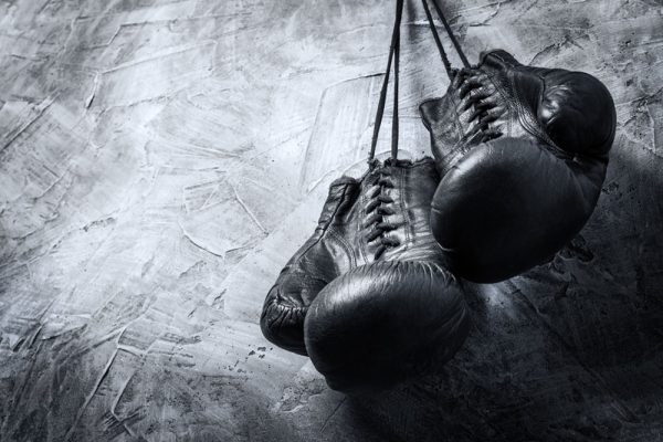 A Set of Black Leather Boxing Gloves