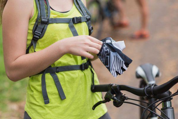 Girl wearing cycling glove