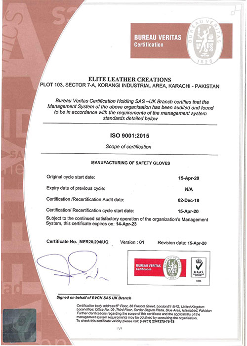 ELC ISO 900 Certification