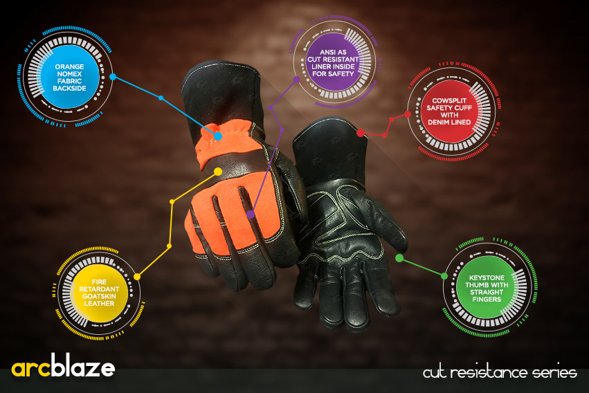 arc blaze gloves - cut resistance gloves series by elite leather