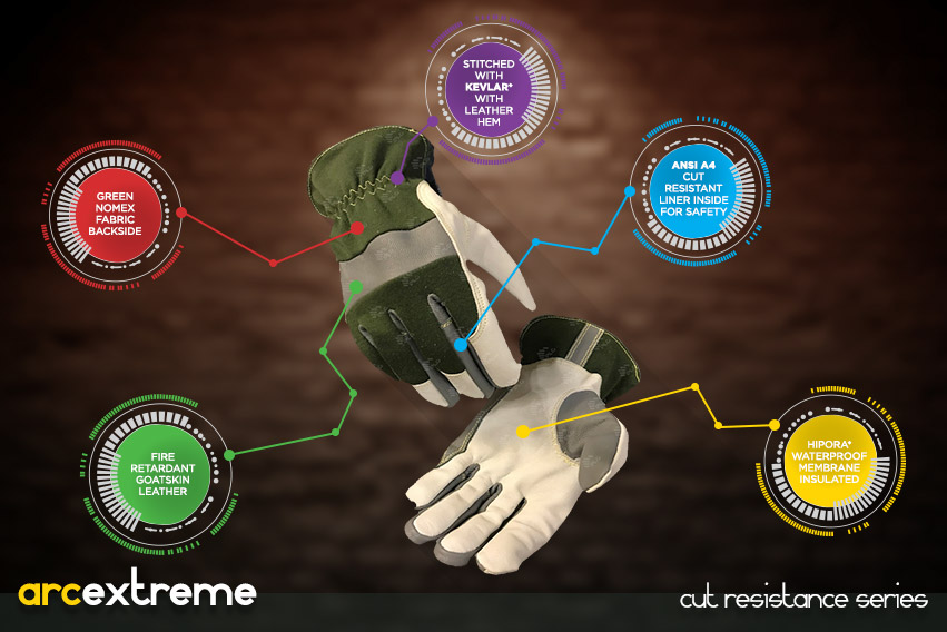 arc-extreme-gloves - cut resistance gloves series by elite leather