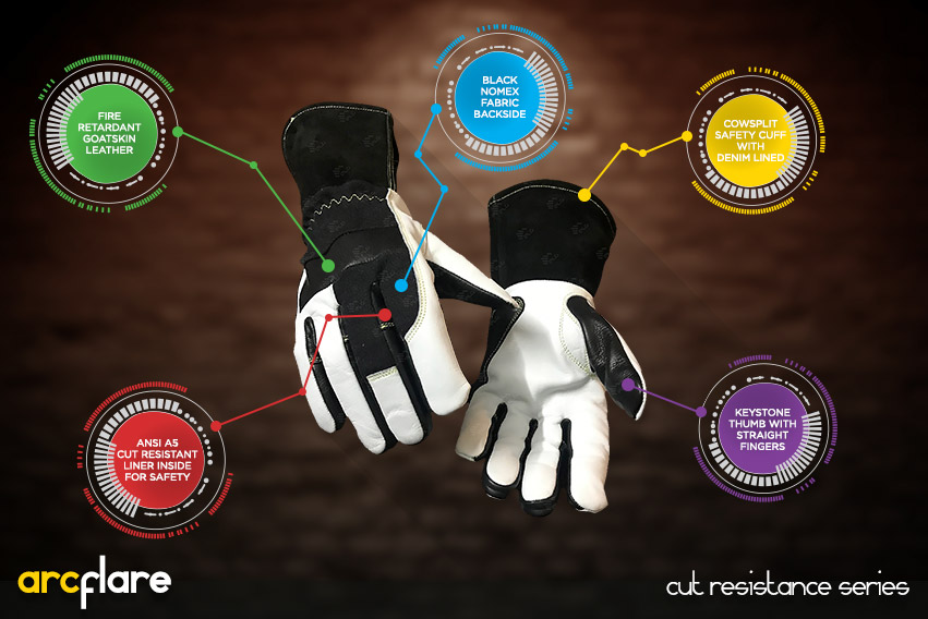 arc flare gloves - cut resistance gloves series by elite leather