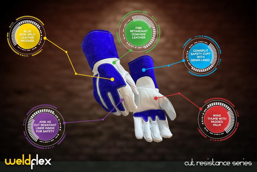 weld flex gloves - cut resistance gloves series by elite leather