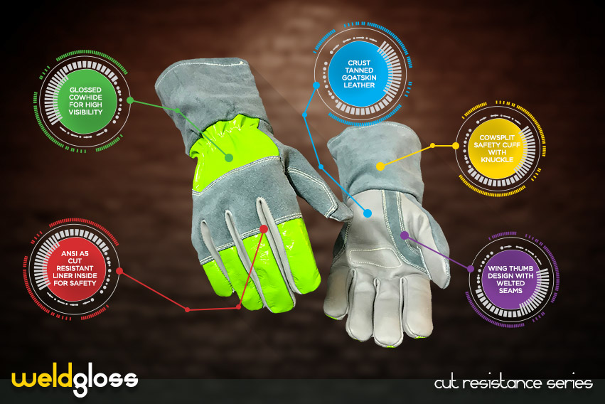 weld gloss gloves - cut resistance gloves series by elite leather