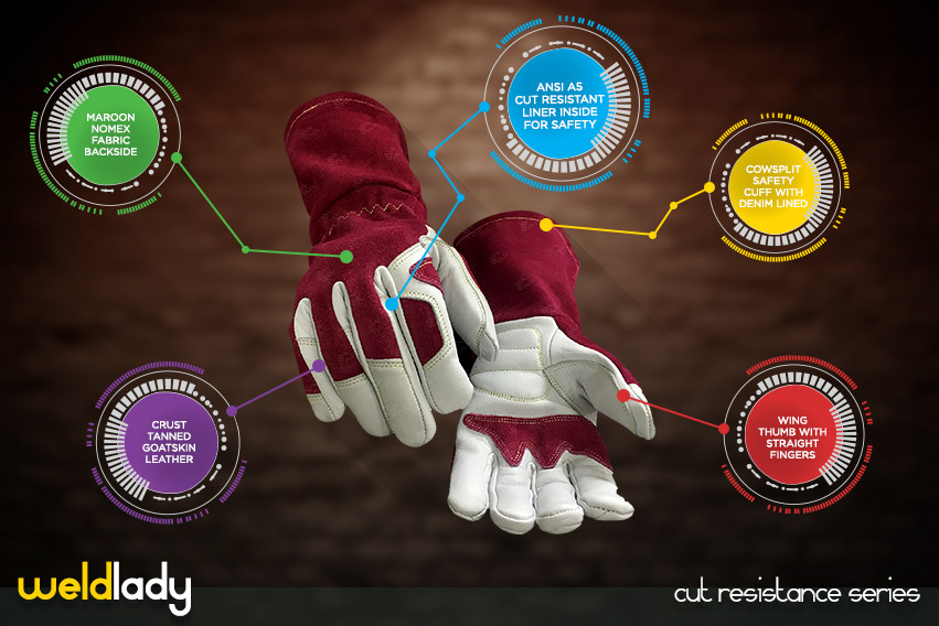 weld lady gloves - cut resistance gloves series by elite leather