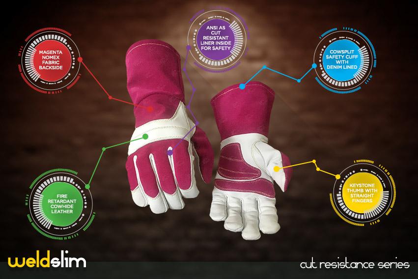 weld-slim cut resistance gloves series by elite leather
