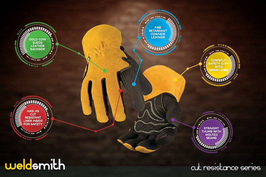 weld-smith cut resistance gloves series by elite leather